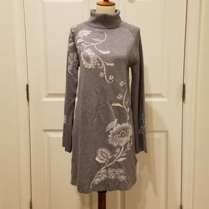 Style & Co Gray Floral Bell Sleeve Sweater Dress**